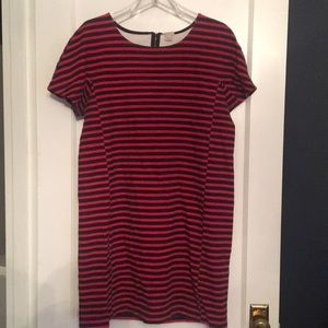 Black and red striped, short sleeved dress.